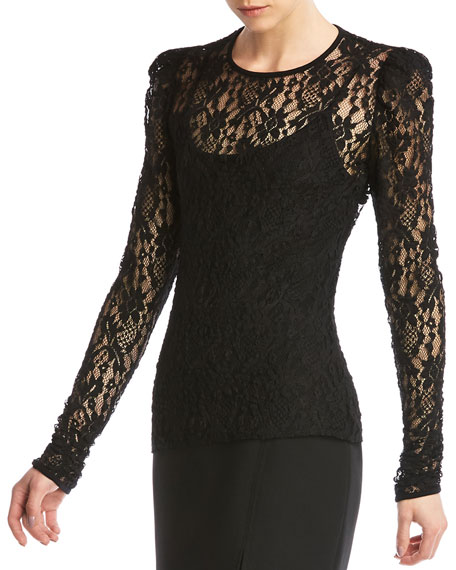 Image 3 of 5: Jenna Lace Long-Sleeve Top w/ Cami
