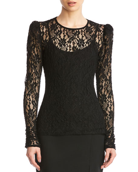 Image 1 of 5: Jenna Lace Long-Sleeve Top w/ Cami