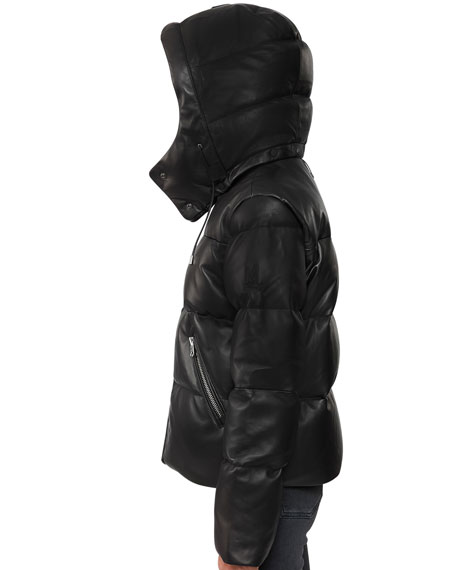 Mackage Hooded Leather Down Jacket