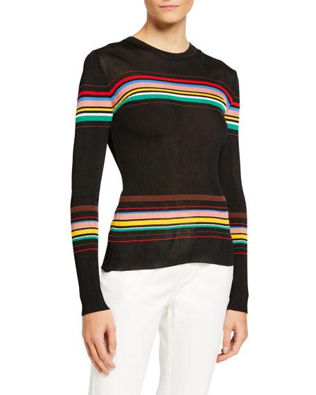 M Missoni Striped Long-Sleeve Rib Top