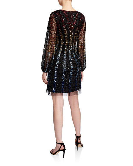 Image 3 of 3: Aidan by Aidan Mattox Sequined Multi Ombre Stripe V-Neck Long-Sleeve Mini Dress