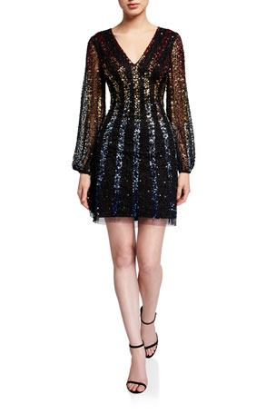 Aidan by Aidan Mattox Sequined Multi Ombre Stripe V-Neck Long-Sleeve Mini Dress