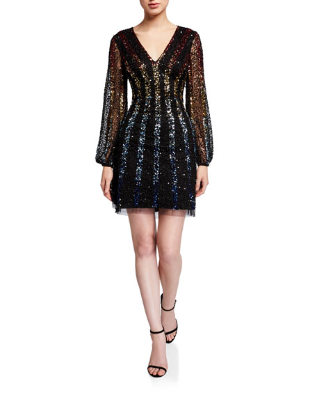 Image 1 of 3: Aidan by Aidan Mattox Sequined Multi Ombre Stripe V-Neck Long-Sleeve Mini Dress