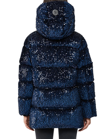 Mackage Long Hooded Down Jacket w/ Sequins