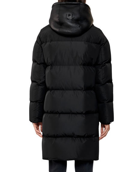 Image 2 of 3: Hooded Down Coat w/ Sheepskin Bib