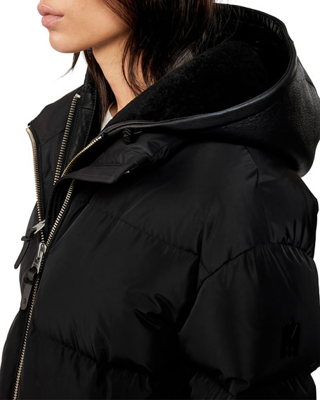 Image 3 of 3: Hooded Down Coat w/ Sheepskin Bib
