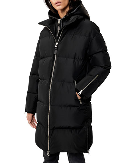 Image 1 of 3: Hooded Down Coat w/ Sheepskin Bib