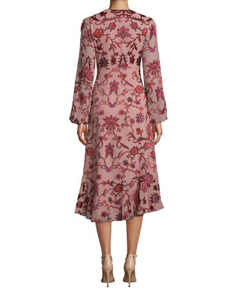 Nicole Miller Red Vines Long-Sleeve Midi Floral Dress