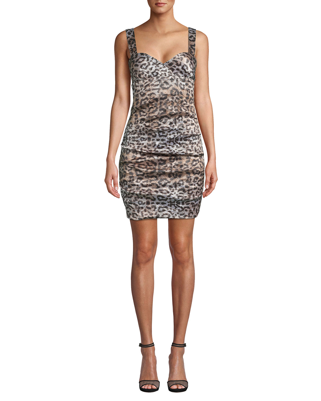 Nicole Miller NYC Leopard Sweetheart Sleeveless Dress