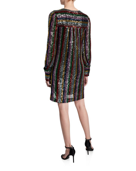 Image 2 of 2: Milly Lylah Rainbow Multistripe Sequin V-Neck Blouson-Sleeve Dress