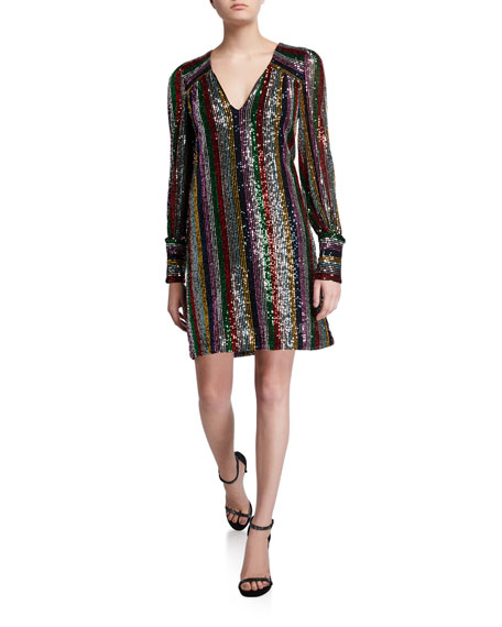 Image 1 of 2: Milly Lylah Rainbow Multistripe Sequin V-Neck Blouson-Sleeve Dress