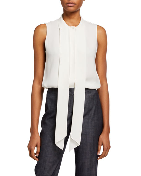Lafayette 148 New York Joel Silk Double Georgette Tie-Neck Sleeveless Blouse