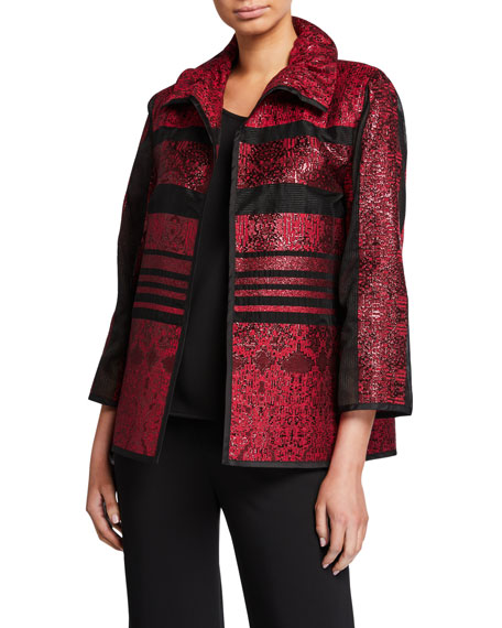 Caroline Rose Petite Sheer Stripe Ruched Collar Bracelet Sleeve Jacket