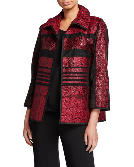 Caroline Rose Plus Size Sheer Stripe Ruched Collar Bracelet Sleeve Jacket