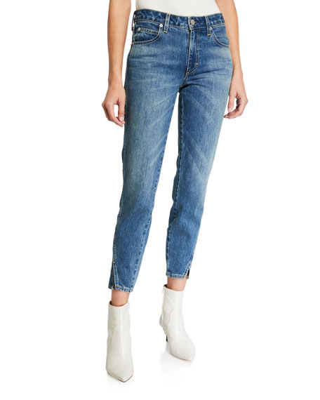 Image 1 of 3: Mid-Rise Twisted Seam Ankle Skinny Jeans