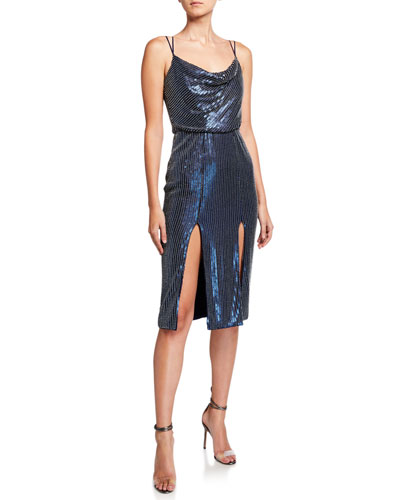 Elise Sequin Cowl-Neck Thigh-Slit Strappy Cocktail Dress