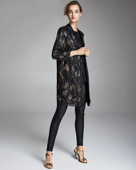 Image 2 of 4: Misook Plus Size Long Sequin Mesh Duster Jacket
