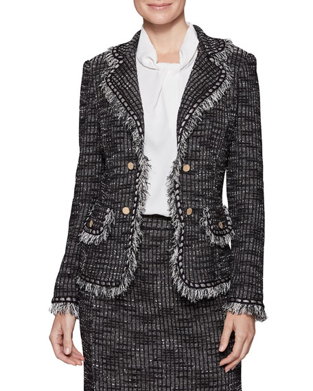 Misook Plus Size Tweed Jacket with Gold Buttons