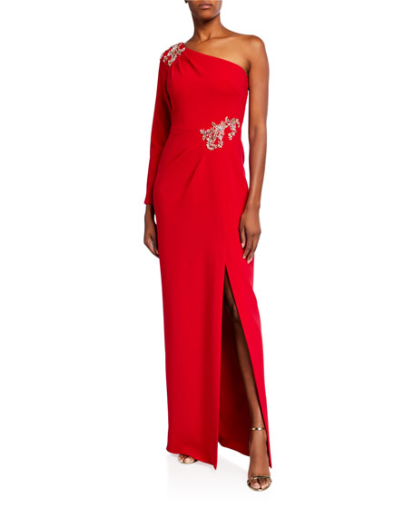 Marchesa Notte One-Shoulder Stretch Crepe Gown w/ Beaded Details