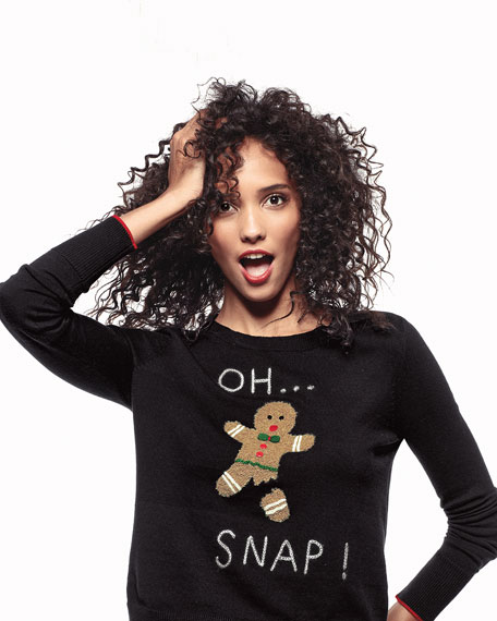 Lisa Todd Plus Size Oh Snap Gingerbread Man Holiday Sweater
