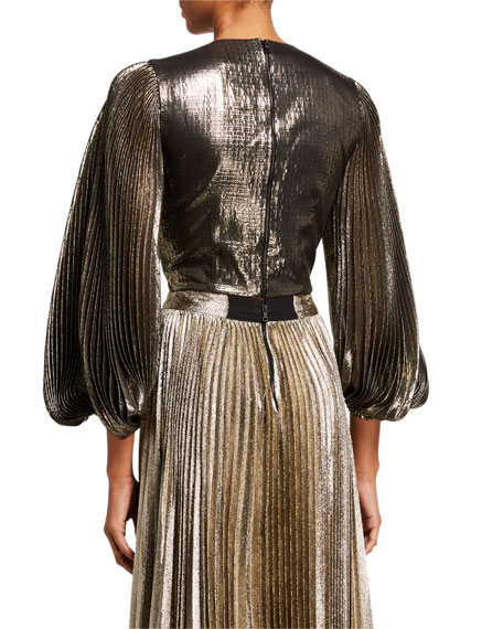 Alice + Olivia Ranee Strong-Shoulder Pleated Blouse