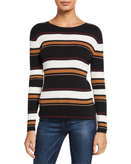 Image 2 of 3: FRAME Panel Stripe Crewneck Sweater