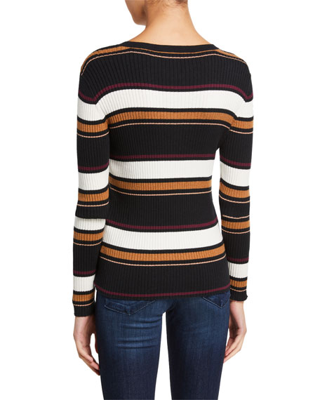Image 3 of 3: FRAME Panel Stripe Crewneck Sweater