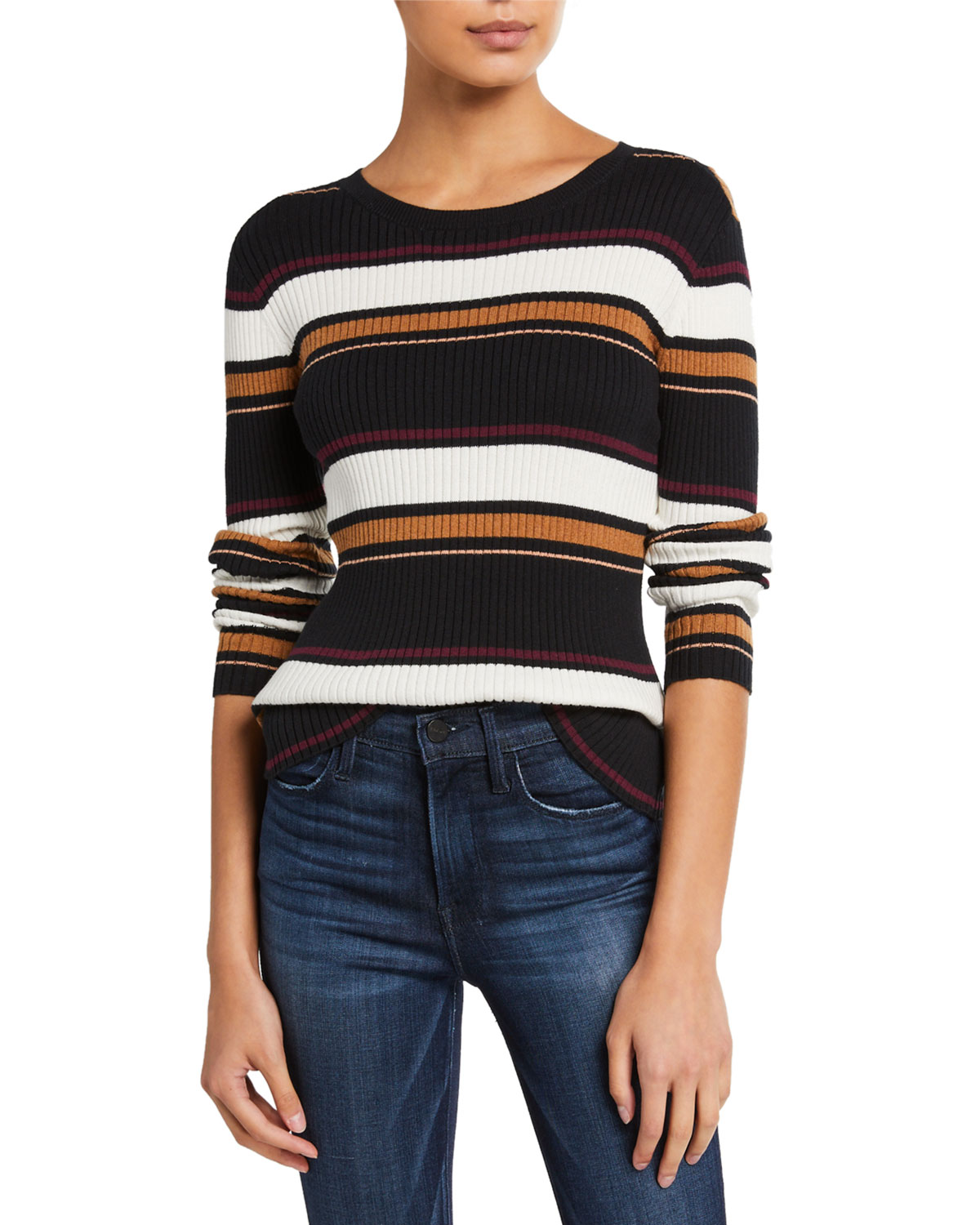 FRAME Panel Stripe Crewneck Sweater