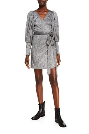 Rhode Frankie Metallic Long-Sleeve Wrap Dress