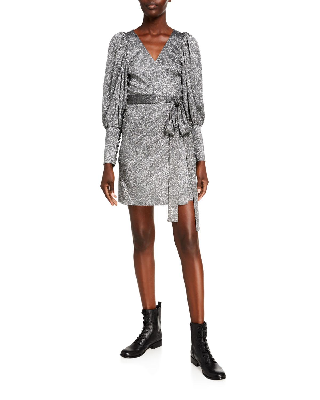 Frankie Metallic Long Sleeve Wrap Dress by Rhode