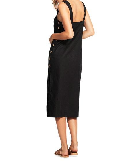 Seafolly Square-Neck Slip Dress w/ Button Details