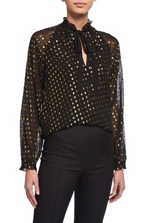A.L.C. Winona Metallic Dot Silk Blouse