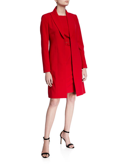 Albert Nipon Two-Piece Belted Sleeveless Dress with Long Jacket
