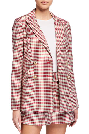 Derek Lam 10 Crosby Rodeo Double-Breasted Gingham Blazer