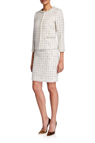 Albert Nipon Two Piece Metallic Check Tweed Skirt Suit w/ Pearlescent Trim