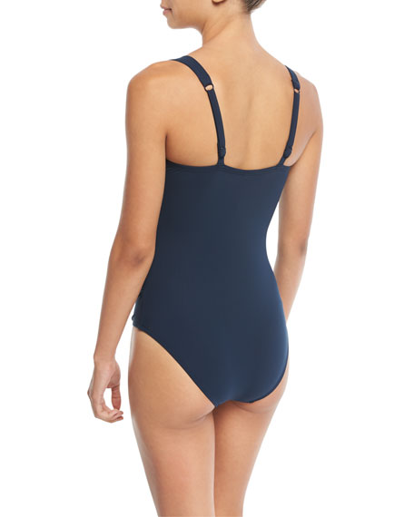 JETS by Jessika Allen Deep-V Cross-Front One-Piece Swimsuit (D/DD Cup)