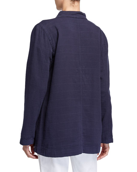 Eileen Fisher Petite Organic Cotton Channel Jacket w/ Mandarin Collar