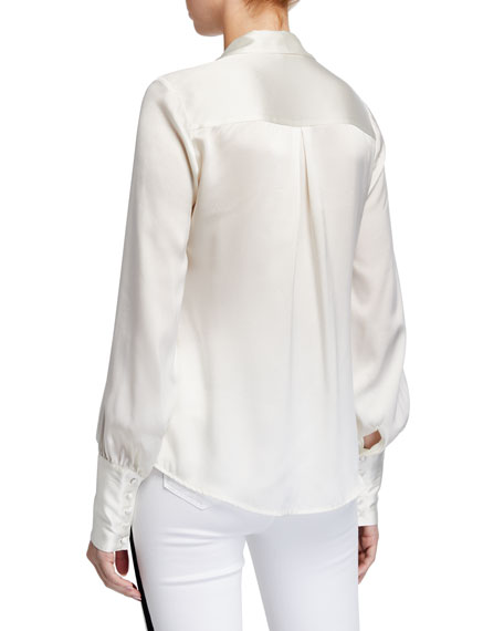 L'Agence Naomi Button-Loop Silk Blouse