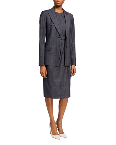 Jude Fusion Suiting Sheath Dress with Belt