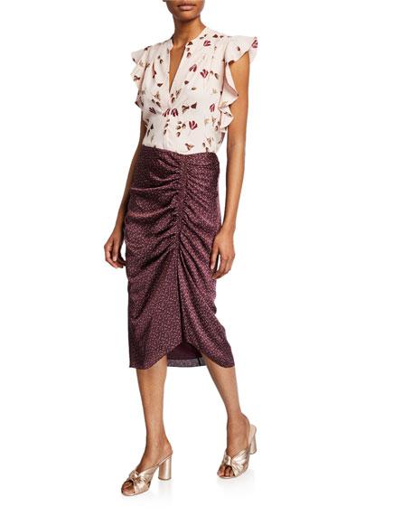 Joie Maira Ruched Midi Skirt