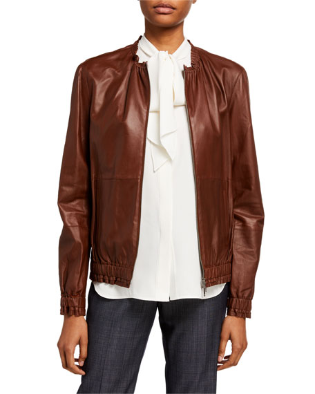 Lafayette 148 New York Rylan Zip Front Supple Napa Leather Jacket