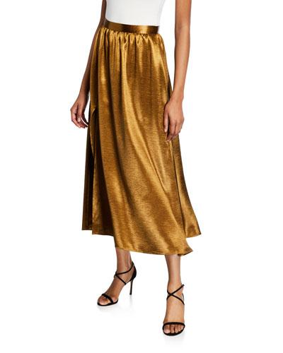 Duffy Metallic Slit Midi Skirt