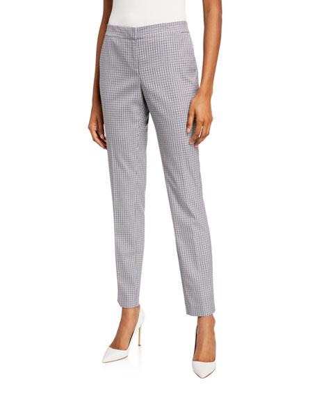 Lafayette 148 New York Manhattan Tattersall Mini Check Slim Pants