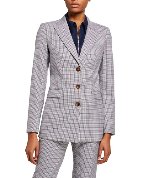 Lafayette 148 New York Maggie Mini Check Tattersall Blazer