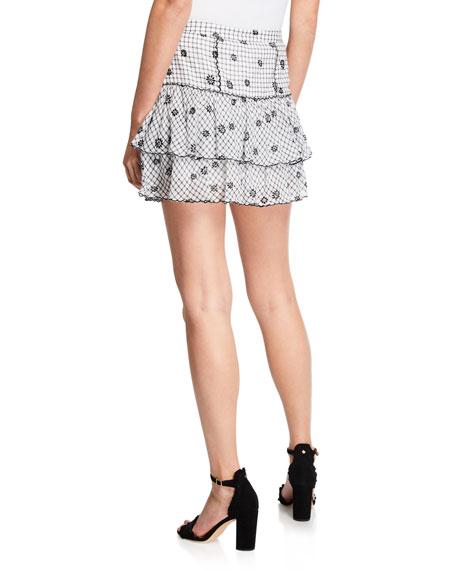 LoveShackFancy Amy Tiered Checker Cotton-Blend Mini Skirt