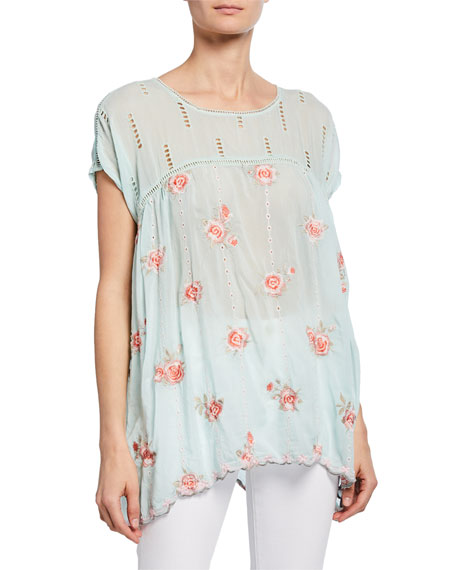 Johnny Was Plus Size Rose Floral Embroidered Dolman Top w/ Eyelet Details