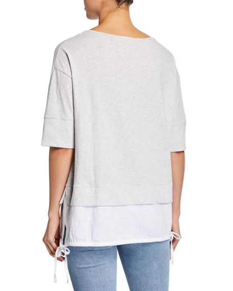 Lisa Todd Forever Young Slub Cotton Layer Tee w/ Side-Tie Detail
