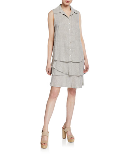 Jasmine Button-Front Sleeveless Tiered Washed Linen Dress