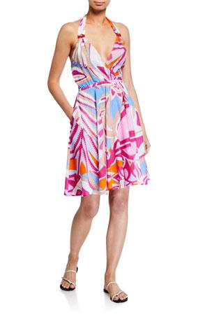 Emilio Pucci Printed Halter Coverup Dress