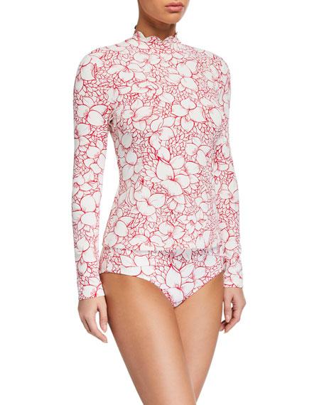 Marysia Scalloped Floral Rashguard Swim Top
